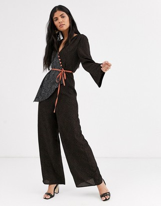 Lost Ink tea jumpsuit with constrast tie waist