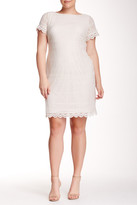 Maggy London Short Sleeve Lace Shift Dress (Plus Size)