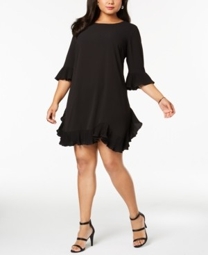 MSK Plus Size Pleated Ruffle Dress
