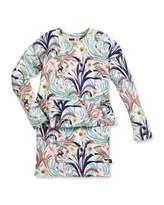 Molo Corliss Floral Peplum Dress, White/Multicolor, Size 3-12