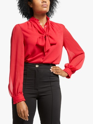 Somerset by Alice Temperley Tie Neck Blouse, Coral