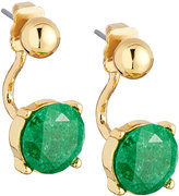 Lydell NYC Crackled Crystal Jacket Earrings, Green