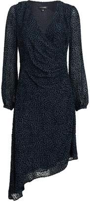 Intermix Joslyn Burnout Velvet Wrap Dress