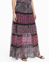 White House Black Market Woven Print Maxi Skirt