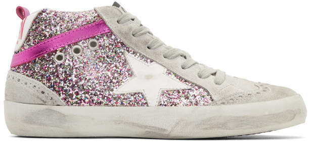 Golden Goose Grey and Pink Glitter Mid Star Sneakers