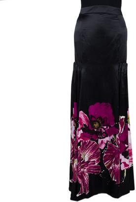 Roberto Cavalli Black & Fuschia Floral Printed Silk Pleated Detail Maxi Skirt L