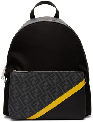 Fendi Black and Yellow Forever Backpack