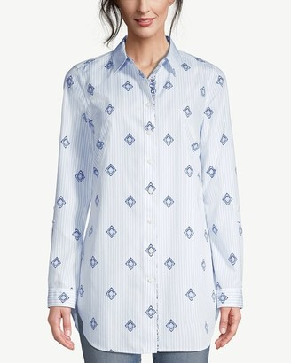 No Iron Cotton Medallion-Print Roll-Tab Sleeve Tunic
