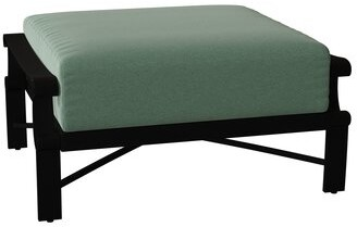 Caruso Woodard Bungalow Ottoman with Cushion Woodard Cushion Color Seaglass, Frame Color: Textured Black