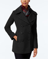 London Fog Petite Double-Breasted Peacoat with Plaid Scarf