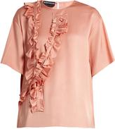 Rochas Ruffle-trimmed silk-satin blouse