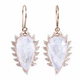 Moonstone & Diamonds Claw Drop Earrings