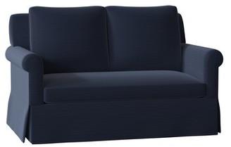 Bancroft Loveseat Duralee Furniture Body Fabric: Adley Navy