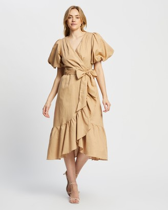 MinkPink Women's Brown Midi Dresses - Wrap Frill Dress - Size XS at The Iconic