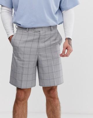 Asos Design DESIGN wide leg shorts in gray with check