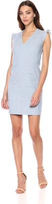 T Tahari Women's Patty Sleeveless Linen V-Neck Dress