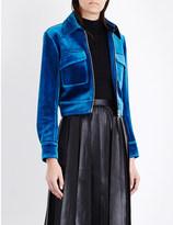 Mo&Co. Cropped velvet jacket