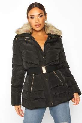 boohoo Belted Faux Fur Trim Puffer Jacket