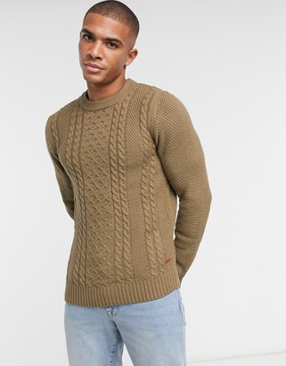 Jack and Jones cable knit sweater in brown