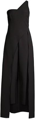 Aidan Mattox Dual One-Shoulder Jumpsuit