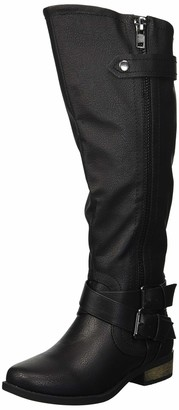 Rampage Women's Hansel Knee High Boot Black Smooth 5.5 M US Wide Calf