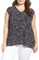 Vince Camuto Plus Size Women's Graphic Ribbons Mixed Media Top