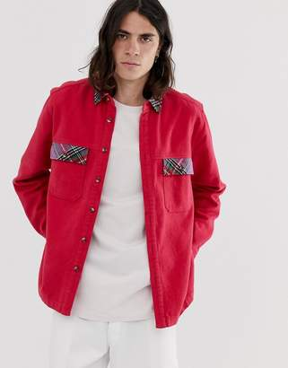 Asos Design DESIGN overshirt with contrast check pockets-Red