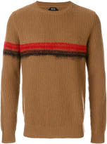 No.21 ribbed stripe embellished sweater