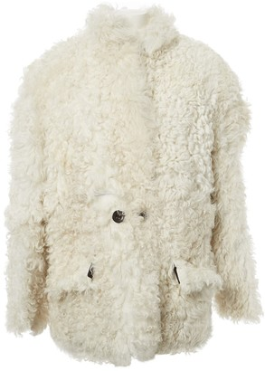 Non Signé / Unsigned Non Signe / Unsigned White Shearling Coat for Women