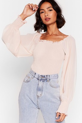 Nasty Gal Womens Shirred Why Not Balloon Sleeve Blouse - Pink - S, Pink