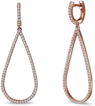 Lafonn 18K Rose Gold Plated Sterling Silver Pave Simulated Diamond Open Pear Shape Dangling Earring