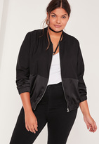 Missguided Plus Size Satin Two Tone Bomber Jacket Black