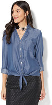 New York & Co. Soho Soft Shirt - Tie-Front Hi-Lo Shirt - Ultra-Soft Chambray - Indigo Blue Wash