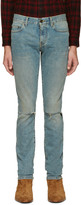 Saint Laurent Blue Original Low Waisted Ripped Skinny Jeans