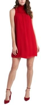 1 STATE High-Neck Smocked Dress