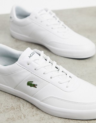 Lacoste court master perf stripe sneakers in white leather