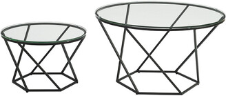 Hewson Geometric Glass Nesting Coffee Table Set