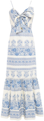 Johanna Ortiz Deep Waters Twist-front Printed Cotton-poplin Maxi Dress