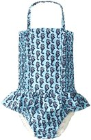 Rachel Riley Seahorse Ruched Swimsuit (Toddler/Kid) - Aqua/Navy-4 Years