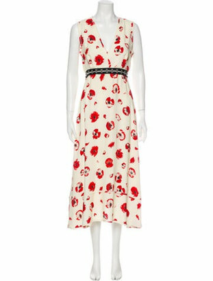 Proenza Schouler Floral Print Knee-Length Dress White