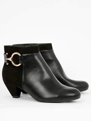 Evans Wide Fit Aquarius Ring Detail Heeled Ankle Boot