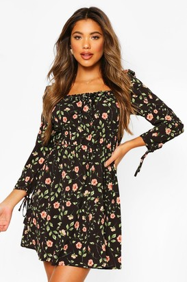 boohoo Rose Print Puff 3/4 Sleeve Mini Dress