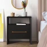 Everly Cho 1 Drawer Nightstand Quinn Color: Black