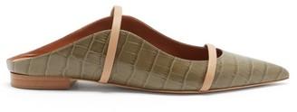 Malone Souliers Maureen Backless Leather Flats - Khaki
