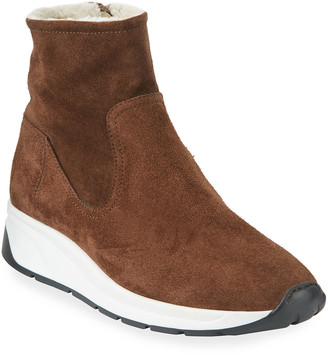 Aquatalia Betty High-Top Sneakers with Shearling Lining