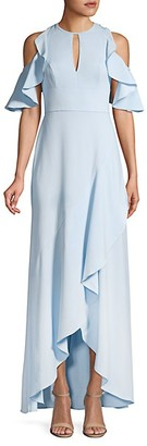 ML Monique Lhuillier Ruffle Cold-Shoulder Halter Gown
