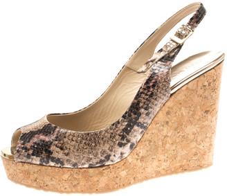 Jimmy Choo Two Tone Embossed Python Leather Prova Slingback Cork Wedge Sandals Size 42