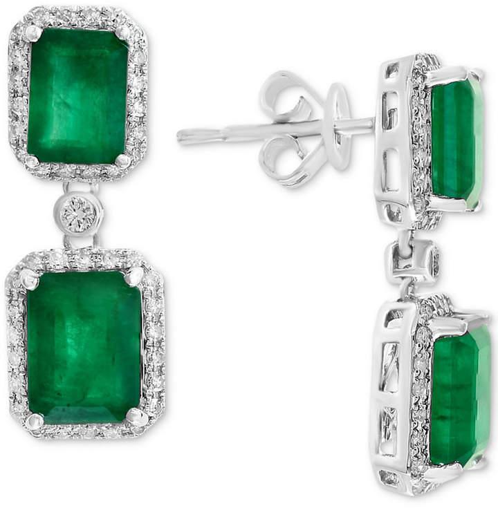 Effy Emerald (4-3/4 ct. t.w.) & Diamond (3/8 ct. t.w.) Drop Earrings in 14k White Gold