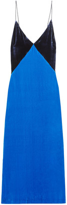 Dion Lee Two-tone Open-back Velvet Midi Dress