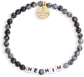 Little Words Project He/Him Beaded Stretch Bracelet